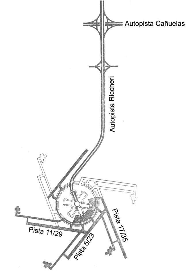 Esquema básico de diseño del aeropuerto de Ezeiza. Originalmente se construyó la autopista, que llega a la rotonda central que está rodeada por tres edificios principales, dos espigones (hoy demolidos), la zona de estacionamiento de aeronaves, que subsiste y ha sido ampliada y las tres pistas señaladas. No se construyeron las otras tres pistas, ni las calles de carreteo. La pista 11/29 se hizo desplazada hacia el este con respecto a este dibujo (original del Ministerio de Obras Públicas).
